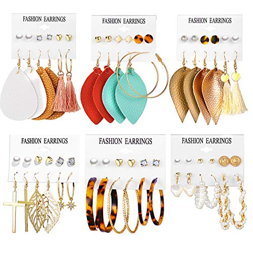 36 Pairs Leather Earrings Set for Women Girls Assorted Multiple Hoop Ball Stud Earrings Set Bohemian Acrylic Tassel Teardrop Dangle Earrings for Christmas Valentine Birthday Party Gifts
