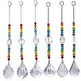 Crystal Suncatcher Chakra Colors Beads Window Hanging Ornament Rainbow Suncatcher,Pack of 6,for Wedding,Plants,Cars,Window Decor