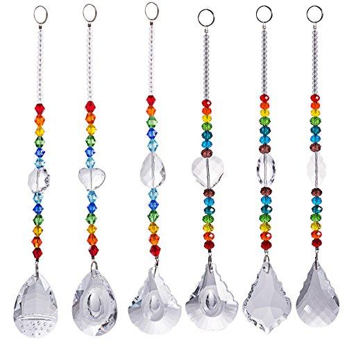 Crystal Suncatcher Chakra Colors Beads Window Hanging Ornament Rainbow Suncatcher,Pack of 6,for Wedding,Plants,Cars,Window Decor by LONGSHENG Suncatchers