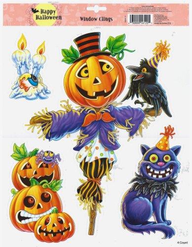 Scarecrow, Jack-o-Lanterns, Cat Halloween Window Clings