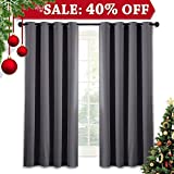 NICETOWN Thermal Insulated Blackout Curtains - Solid Grommet/Drapes / Rideaux for Bedroom (1 Panel,52 by 63 Inch,Grey)