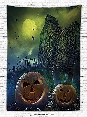 Halloween Decorations Fleece Throw Blanket Pumpkin in Spooky Graveyard in Old Stone Haunted House in Gloomy Dark Night Throw Blanket for es Grey Yellow