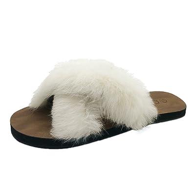 0a60603d2d90 VonVonCo Women Fluffy Faux Fur Indoor Outdoor Flat Heel Sandals Slipper  Casual Shoes Beige