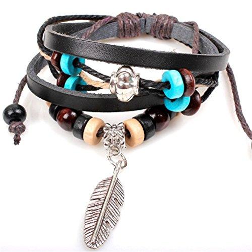 Indian Pattern Hemp (Willsa Indian Style Wooden Beads Feather Pattern Wrist Bracelet Jewelry)