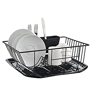 Best Commercial Steel Rust Proof Kitchen Sink Side Draining Dish Drying Rack, Black Dish Rack With Black Drainboard