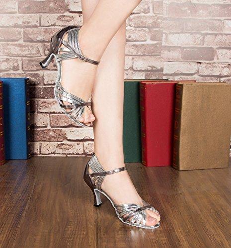Minitoo Argenté latin Heel Chaussures pour talon à Silver Sandales bas talon style à femmes 5cm TH018 7 AA4XqSB