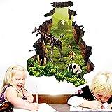 Slendima 3D Forest Animals Cute Giraffe Panda Wall Floor Sticker,Art Decal for Kids Room Bedroom Living Room