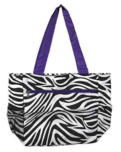 Large Tote Bag | 13.5 Inch Shopping or Beach Bag by Unique Traveler (Zebra Print-Purple Trim)