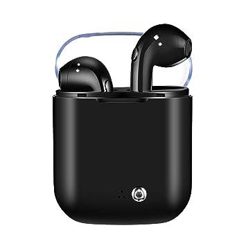 JUNERAIN Auriculares estéreo con Doble Auricular i7S con Caja de Carga (Negro): Amazon.es: Electrónica