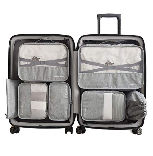 Packing Cubes Set Luggage Pack Organizer Lightweight Travel Suitcase with shoe Bag, Laundry Bag for 7pcs (Gray) Seanite