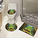 Carl Morris Natural Cave bath mat set with toilet cover Latent Pavilion in Between the Cliffs Discovery of Faith in the Nature Picture 3D digital printing Rug Set Multicolor