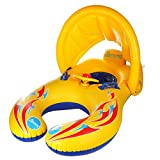 AUNAX Inflatable Baby Pool Float Dual Seat Mother and Baby Swimming Pool Floating with Adjustable Removable Canopy 2 in 1 Safe Soft Swim Float Ring with Carry Bag, Yellow