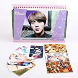BTS Jin Calendar 2018 and 2019, with 12 Love Yourself Photo Cards 2 Sided Photos + 3 Stickers from Love Yourself Album Group Photos Fan Made