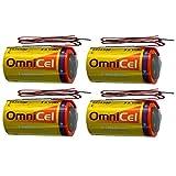4x OmniCel ER26500 3.6V 8.5Ah Sz C Lithium Battery Wire Leads RFID AMR