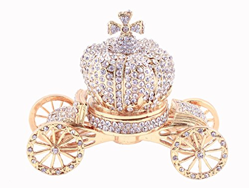 Cinderella Crown Carriage Trinket Box, All Clear Swarovski Crystallized Over Pewter, Crown is Detachable from Carriage, Gold Plating, Perfect For Your Wedding Ring, 3.50 X 3.00 X 1.75 ()