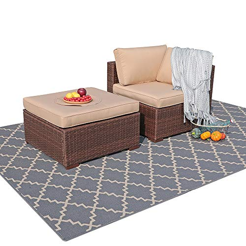 Patiorama 2 Piece Outdoor Patio Furniture Set, All Weather Wicker Patio Sectional Sofa Set with Ottoman,Corner Sofa Chair, Beige (Corner & Ottoman)