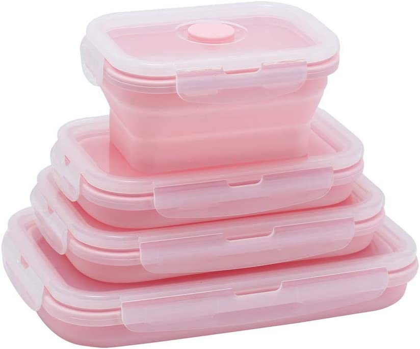 Yagote 4 Pcs Silicone Collapsible Food Storage Containers with Lids Silicone Lunch Box Bento Box BPA free for Kitchen Pantry Organization Microwave Freezer (4pcs-Pink)