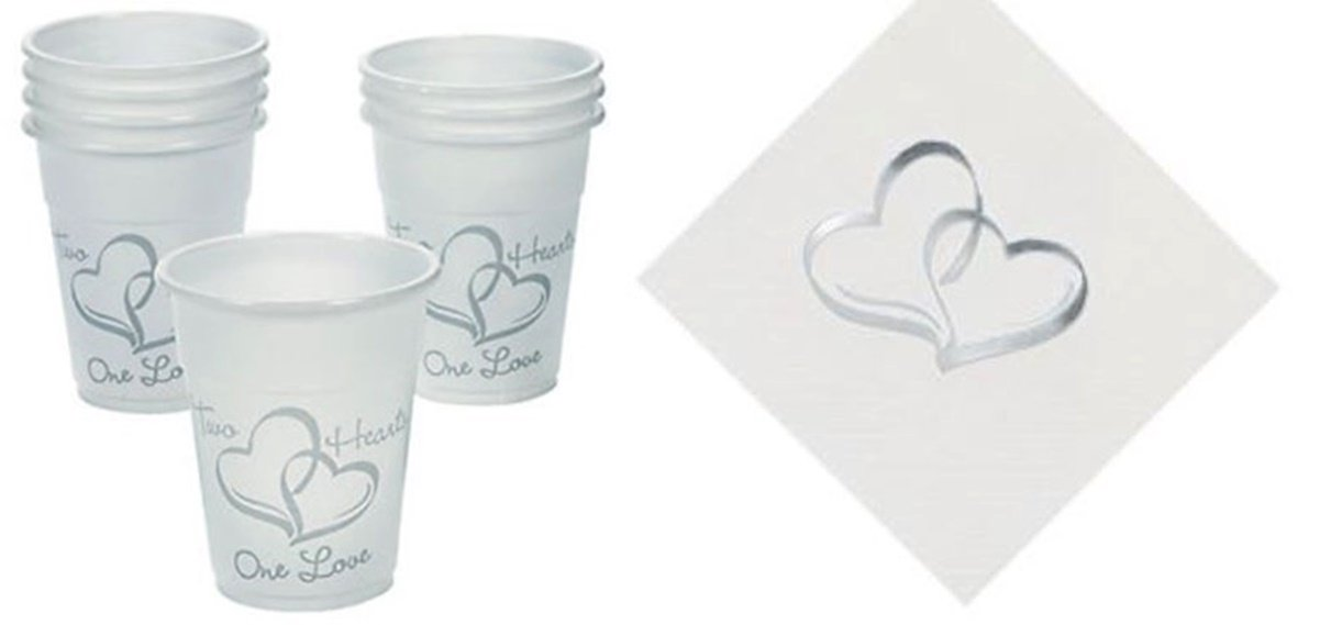50 Two Hearts Wedding Cups + 50 Matching Two Hearts Cocktail Napkins