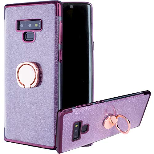 Flocute Galaxy Note 9 Case, Galaxy Note 9 Glitter Case with Kickstand Bling Luxury Sparkly Slim Flexible Soft Gel TPU Protective Case with Ring Stand for Samsung Galaxy Note 9 - (Purple)