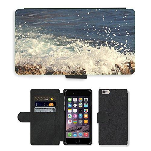 "PU Leather Cover Custodia per // M00421728 Crashing Waves eau océan mer // Apple iPhone 6 4.7"""