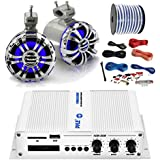 PyleMarine PFMRA350BW 2-Channel Bluetooth White Amplifier, Pyle 5.25 Wakeboard Waterproof IP44 Rated Tower Silver LED Speakers (Pair), Amp Install Kit, 18-G 50 Ft Speaker Wire