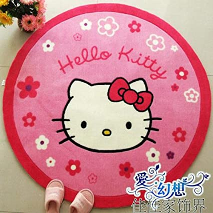 Amazon.com: MBM (TM) Hello Kitty Carpet Cute Cartoon Sitting Room Bedroom Strawberry Doormat Round Floor Area Rug 47.2 Inches: Kitchen & Dining
