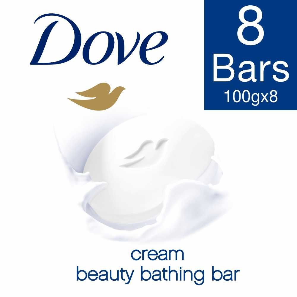 Dove Cream Beauty Bathing Bar, 100g (Pack of 8)