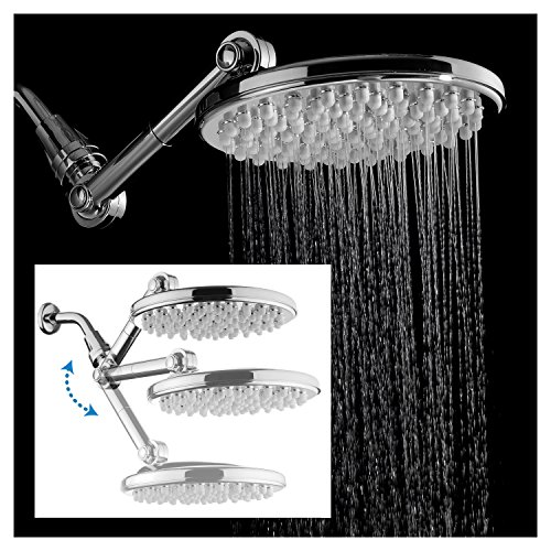 HotelSpa MOBILIS(TM) 4-way Adjustable High-Pressure 9.5' Rainfall Showerhead with 109 Self-Clean Jets Chrome