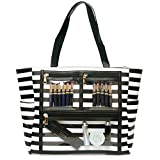 Women Faux Leather Handbag Striped Display Marketing Presentation Bag Tote (Black)