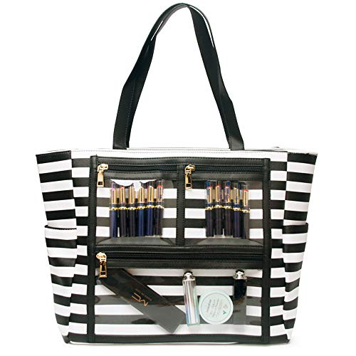 (Women Faux Leather Handbag Striped Display Marketing Presentation Bag Tote (Black))