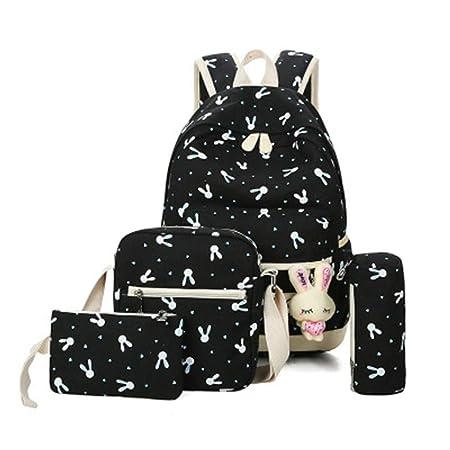 Westtreg 4Pcs Sets 2018 Cartoon Rabbit Printing School Bag Canvas Schoolbags  for Teenage Cute Girls Bookbag Children 678f44ac6cb56