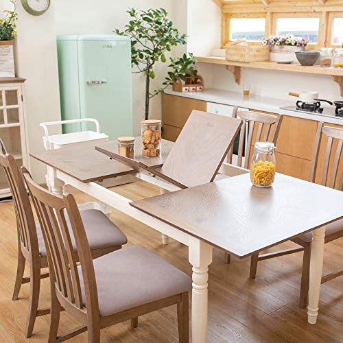 """Furgle 5 Piece Furniture Kitchen Set Rectangular Extendable Oak Solid Wood Dining Table with 4 Chairs, Large Dining Set with Separate Extension Leaf 70.8"""" Long Table and Upholstered Fabric Seat"""