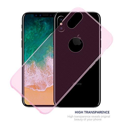 Cadorabo �?>                                          Apple iPhone X                                          < Cubierta protectora de silicona TPU en diseño AIR �?Case Cover Funda Carcasa Protección en TRANSPARENTE-LILA TRANSPARENTE-ROSA