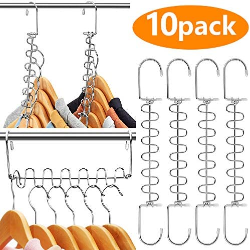 AMKUFO 10 Pack Space Saving Hangers Magic Hangers Metal Clothes Hangers Organizer Cascading Hangers Gain 80% More Space