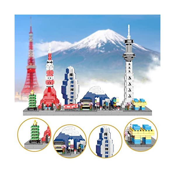 YaJie Architecture Tokyo Skyline Collection Japanses Building Set Model Kit and Gift for Kids and Adults Micro Blocks…