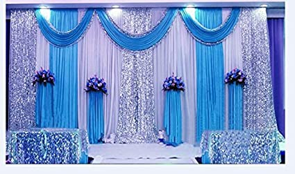Amazon lb wedding stage decorations backdrop party drapes with lb wedding stage decorations backdrop party drapes with swag silk fabric curtain blue sm001 junglespirit Image collections