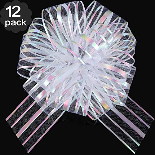 12 Pieces Pull Bow Large Organza Pull Bow Gift Wrapping Pull Bow with Ribbon for Wedding Gift Baskets, 6 Inches Diameter (White) -