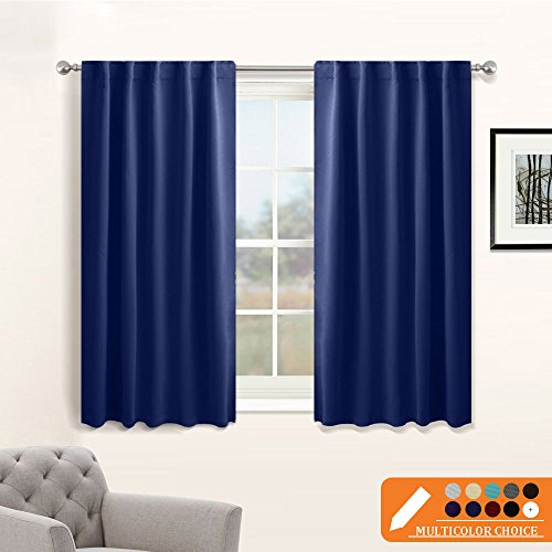 Kids' Room Blackout Curtain Panels - New Design Rod Pocket Curtains Thermal Insulated Window Coverings with 6 Back Loops Per Panel by PONY DANCE, Wide 42