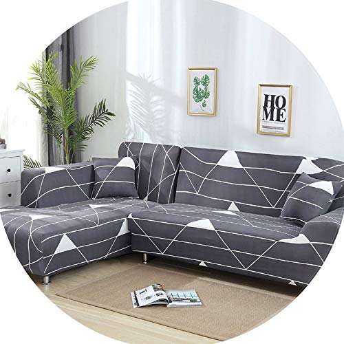 Gooding life 2 Pieces Covers for L Shaped Sofa Living Room Corner Sofa Covers Sectional Couch Slipcover Stretch Elastic Spandex Home Textile,9,195-230cm 235-300cm (Toronto Sectional Couch)