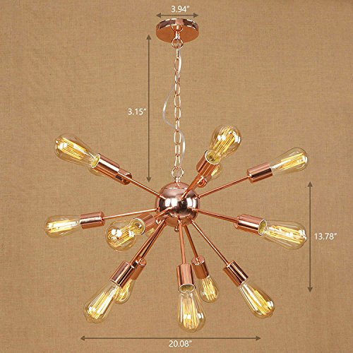 Ruanpu Adjustable Industrial 20'' Wide Vintage Gorgrous Splendid Chandelier 15 Lights Open Bulb Style with Radial Fixture Arm in Copper Ceiling Light Pendant light