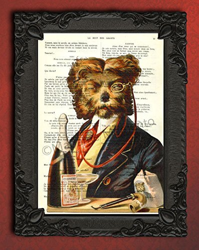 Dandy dog portrait art print, illustration of lapdog with glasses, suit, pipe and champagne artwork on antique dictionary - Champagne Pipe