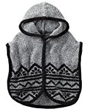 Carter's Little Girls' Heathered Knit Hooded Poncho Sweater (5t) Grey/Black
