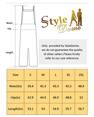 StyleDome Fashion Women Casual Loose Cotton Solid Jumpsuit Long Suspender Overalls Bib Pants Plus Size Romper Black Small by StyleDome (Image #7)