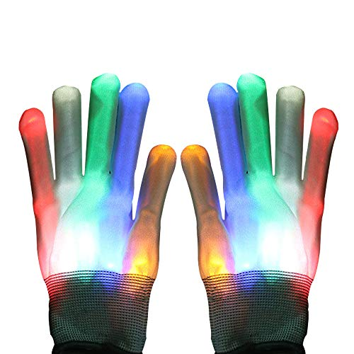 LED Light Gloves- Halloween Glowing Gloves, with 6 Lighting Modes and Replaceable Batteries, Perfect for Halloween Dress Up and Weekend Parties, Stunning Strobe Gloves Help You Stand out