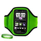 Quality GREEN Armband for Newest Apple iPod Touch with iOS 5 (Black & White 8GB, 32GB, 64GB) with Sweat Resistant lining + Live * Laugh * Love VanGoddy Wrist Band!!!