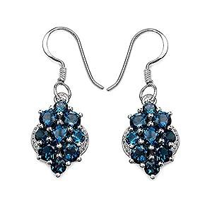 4.40 Carat Genuine London Blue Topaz .925 Sterling Silver Earrings