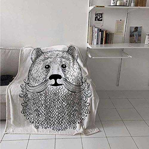 maisi Indie Throw Blanket Doodle Style Sketch Bear Portrait with Curly Beard and Mustache Cute Cool Animal Velvet Plush Throw Blanket 60x36 Inch Black White