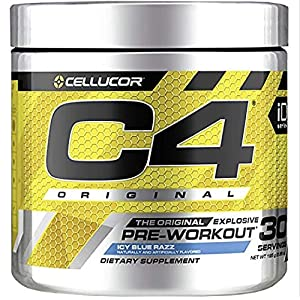 Cellucor C4 Original Pre Workout Powder Energy Drink w/ Creatine, Nitric Oxide & Beta Alanine, Icy Blue Razz, 30 Servings