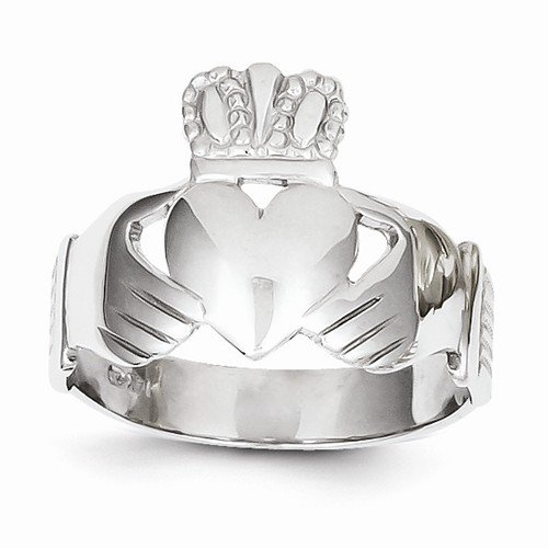 Size - 12.5 - Solid 14k White Gold Men's Claddagh Ring (8 to 21 mm)