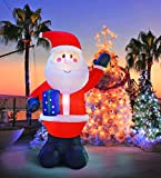 SEASONBLOW 10 Ft Inflatable Christmas Santa Claus Decorations Indoor and Outdoor Lawn Yard Home Inflatables Decoration Hold Box
